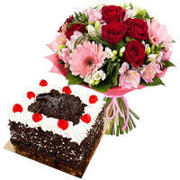 Vibrant Multi-Colored Flowers Bouquet with 1 Lb Black Forest Cake