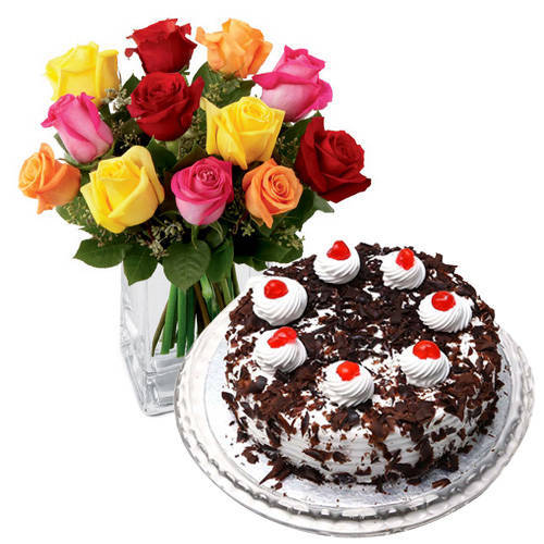 Passionate 24 Mixed Roses with 1 Kg Black Forest Cake from Taj or 5 Star Bakery