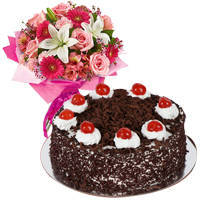 Traditional Mixed Flower Arrangements with 1 Lb Black Forest Cake