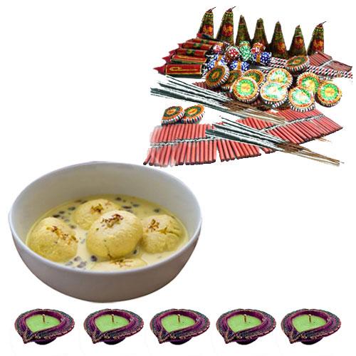 Diwali Gift of Ras malai, Crackers n Diyas