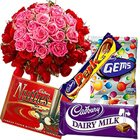 50 Pink and Red Roses with Assorted Cadburys Chocolate