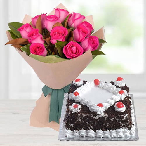 Dazzling 12 Pink Roses Bunch with 1/2 Kg Black Forest Cake