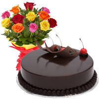 Charming 12 Mixed Roses Bunch and Chocolate Cake with Heartfelt Wishes