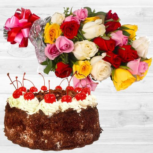 Send Online Mixed Roses Bunch with Black Forest Cake