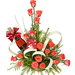 Sparkling Fruit Juice and an Invigorating Bouquet of Pink Roses