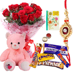 Beautiful 12 Red Roses Bouquet with a Cute Teddy and Assorted Cadburys Chocoloates With 1 Free Rakhi