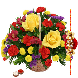 Admirable Roses and Seasonal Flowers Basket