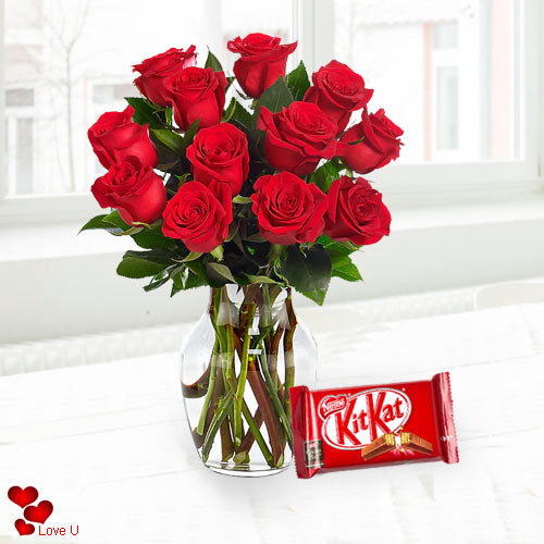Book Red Roses in a Vase with Cadbury Chocolate Online