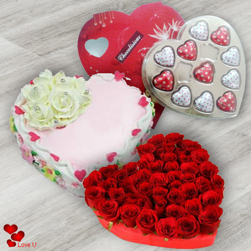 V-Day Surprise Roses Cake N Chocolate Gift Combo