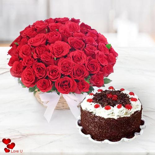 Gift Combo of Red Roses N 5 Star Bakery Cake Online