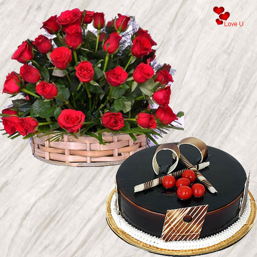 Send Online Red Roses Basket with Chocolate Cake