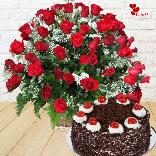 Buy Rose Day Gift of 100 Red Roses with Black Forest Cake