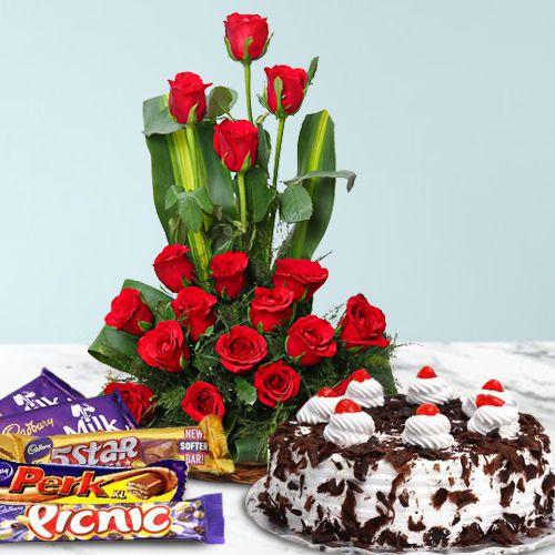 Deliver Online Red Roses, Cake N Cadbury Celebration