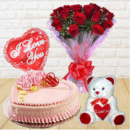 Captivating 12 Dutch Red Roses Bunch with Teddy Bear, 1 Lb Love Cake and Heart Shaped Balloons