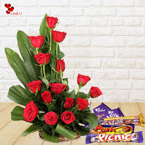V-Day Gift of Red Roses N Assorted Cadbury Chocolates