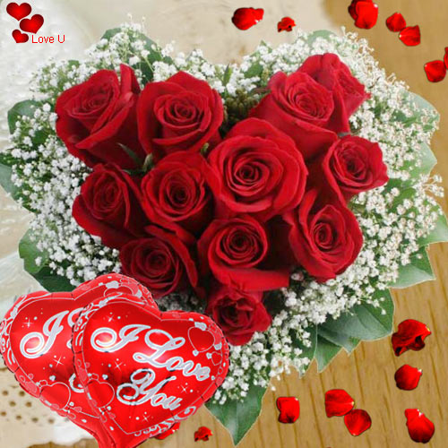 Heart Shape Red Rose Arrangement N Ballons for V-day