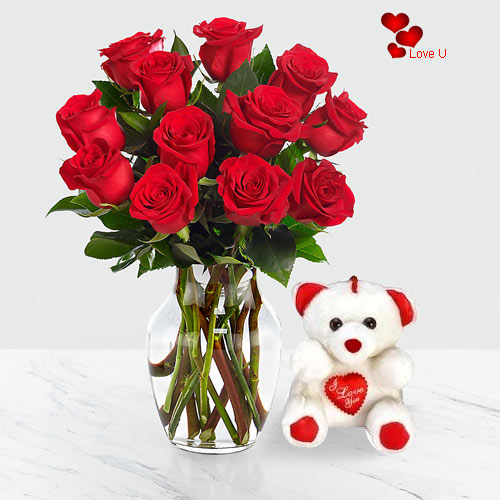 Gift Online Teddy with Red Roses in a Vase