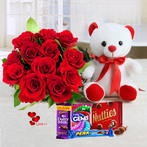 Deliver Online Red Roses with Teddy with Chocolates