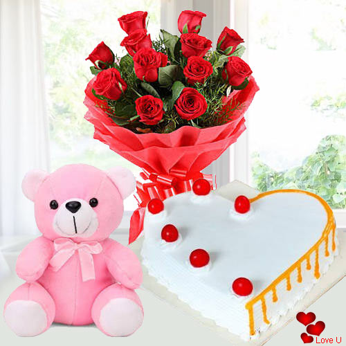 Online Order Red Roses with Cake N Teddy