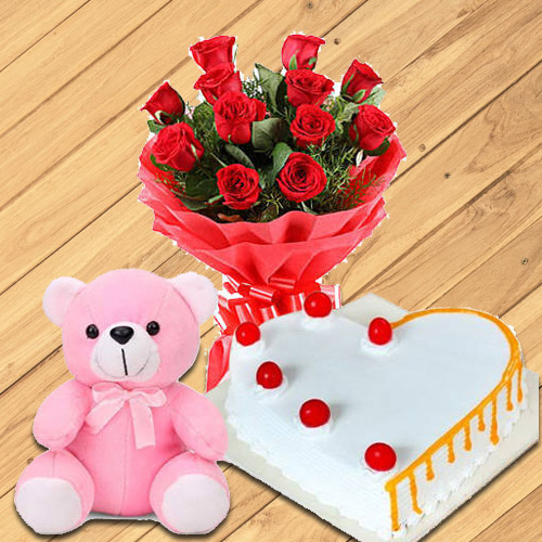 Shop Red Roses Bouquet with Teddy N Cake Online