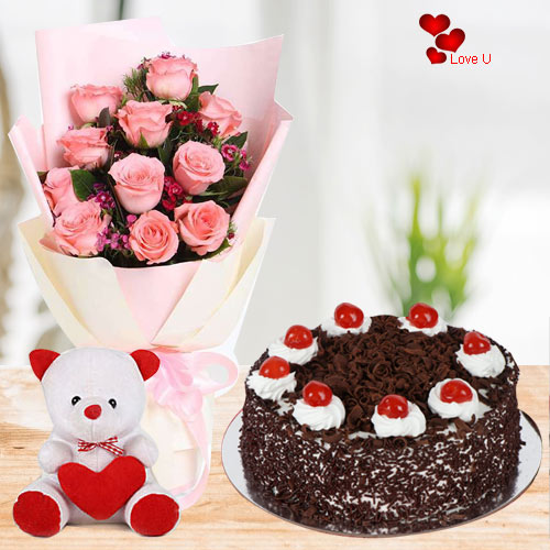 Order Online Pink Roses with Cake N Teddy
