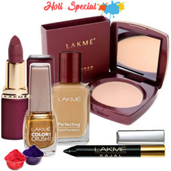 Attractive offer from Lakme containing Compact, Nail Polish, Lipstick, Foundation and  Kajal with free Gulal/Abir Pouch