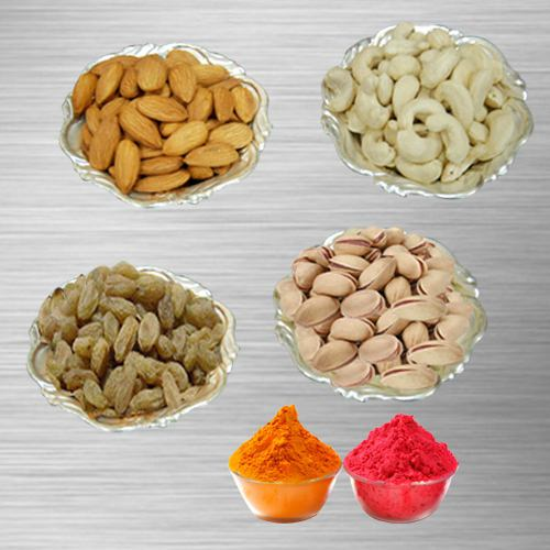 Mixed Dry Fruits with Silver Plated Bowls (Pistachio, Raisin, Cashew, Almond)  with free Gulal/Abir Pouch