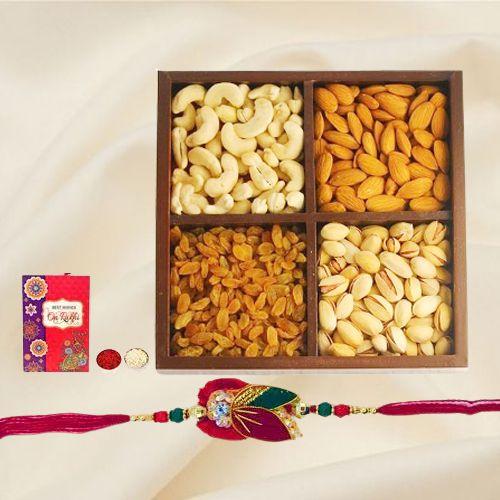 Premium Assorted Dry Fruits with Free Rakhi and Roli Tilak Chawal