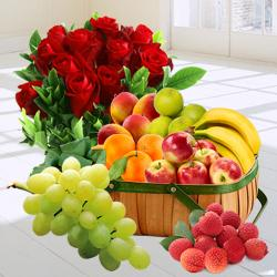 Zesty Fresh Fruit Basket with Red Rose Bouquet