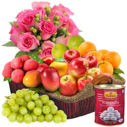 Mixed Fresh Fruits Basket with Haldiram Rasgulla and Rose Bouquet