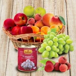 Moms special Fresh Fruits Basket with Haldiram Rasgulla