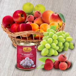 Nutritious Seasonal Fresh Fruits-Haldiram Rasgulla Casket