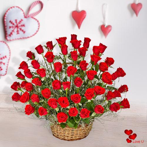 Order Basket Arrangement of 51 Dutch Roses