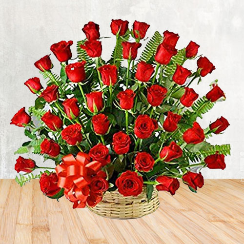 Enchanting 50 Red Roses Delight Bouquet with Love