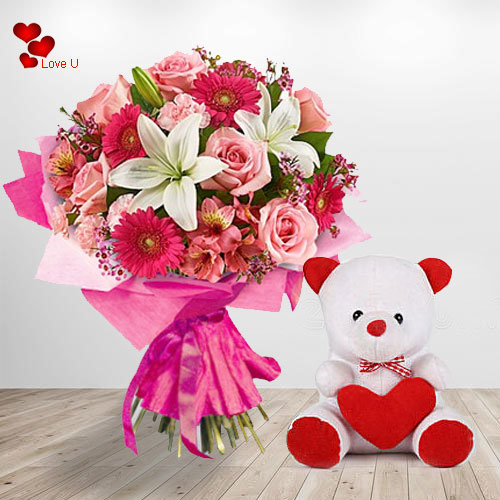 Gift Online Teddy N Flower Basket for Teddy Day