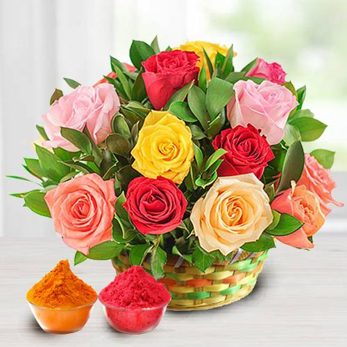18 Pink and Red Roses Arrangement with greens and fillers to show your love and affection with free Gulal/Abir Pouch.