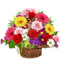 Lovely Basket of Artistic Flowers with Cheerful Greetings
