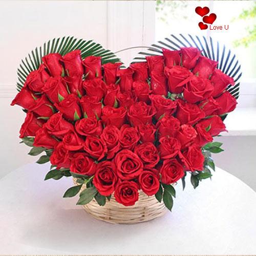 Online Deliver Heart Shape Red Roses