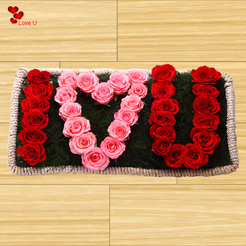 Shop I Love U Arrangement of Roses for Rose Day