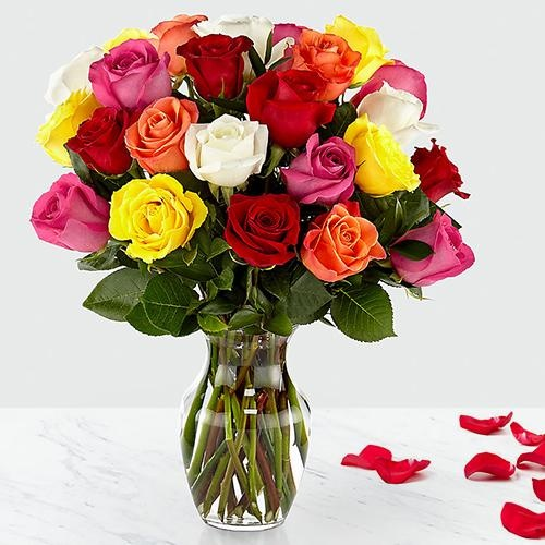 Lovely Vase containing 24 Mixed Roses