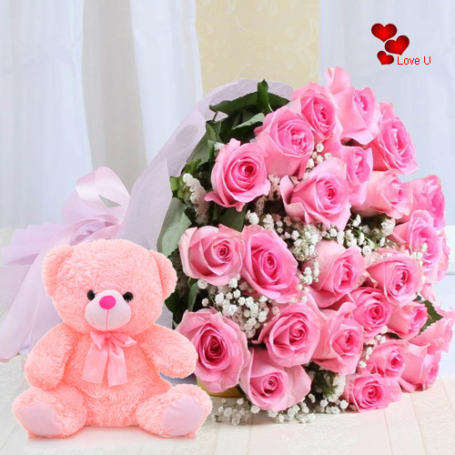 Order Online Pink Roses Bouquet N Teddy