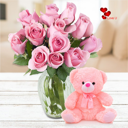 Book Online Pink Roses N Teddy for Lady Love