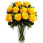 Graceful Yellow Roses in a Vase