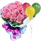 Lavish Love Bouquet of Pink Roses with Balloons