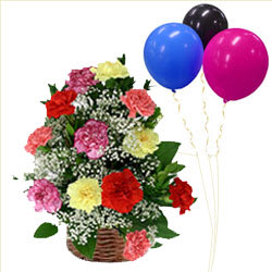 Premium Quality Mixed Carnations Basket with Balloons