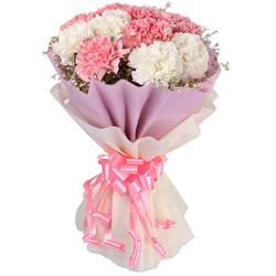 Heavenly Bundle of White N Pink Carnations