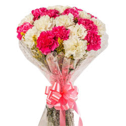 Heavenly Bundle of White N Pink Carnations