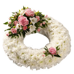 Wreath of Pastel Colour Flowers