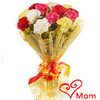 Blossoming Pure Passion Bouquet of Mixed Carnations