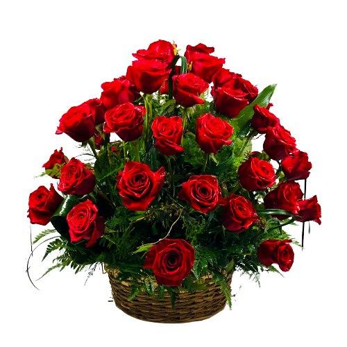 Captivating Unending Passion Roses Basket